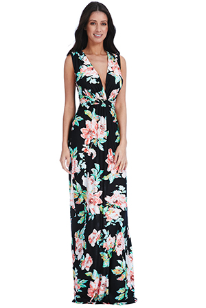 Wholesale V Neck Floral Print Summer Maxi Dress