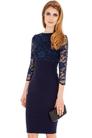 Wholesale Lace dress with three- quarter length sleeves