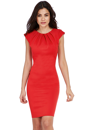 Wholesale-Pleated-Neckline-Cap-Sleeve-Bengaline-Dress