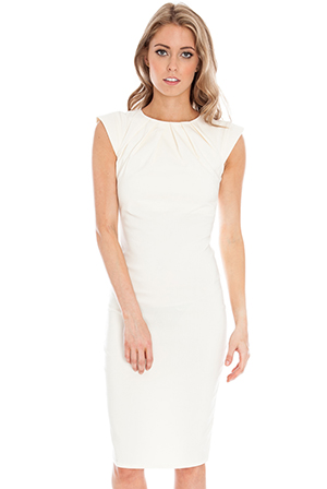 Pleated-neckline-cap-sleeve-bengaline-dress