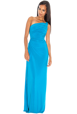 Wholesale One Shoulder Cut Out Ruched Maxi in the style of Sharon Stone