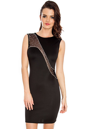 Wholesale Diamante mesh insert sleeveless scuba dress