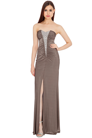 Wholesale Diamante trim ruched bandaue jersey maxi dress