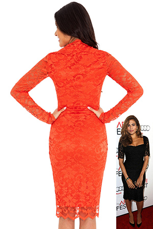 Wholesale Long sleeve scalloped neckline ruched lace dress in the style of Nicole Scherzinger