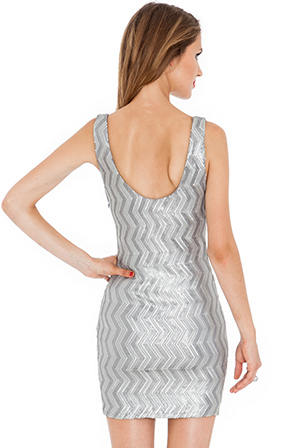 Wholesale Zig zag sequin vest party dress