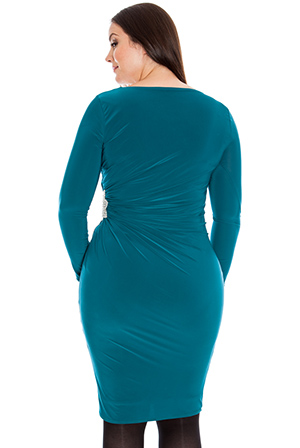 Wholesale Diamante star trim ruched long sleeve jersey dress