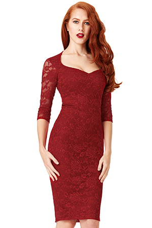 Wholesale Sweetheart Neckline Lace Midi Dress with Sleeves