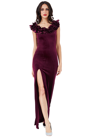 Velvet-Maxi-Dress-with-Flower-Neckline