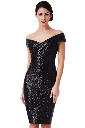 Wholesale-Sequin-Midi-Dress-with-Pleated-Neckline