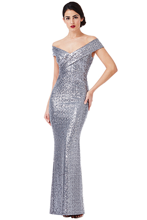 Wholesale-Sequin-Maxi-Dress-with-Pleated-Neckline