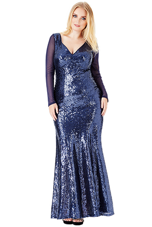 Wholesale-Plus-Size-V-Neck-Sequin-Maxi-Dress-with-Long-Sleeves