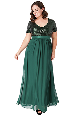 Wholesale-Plus-Size-V-Neckline-Sequin-and-Chiffon-Maxi-Dress