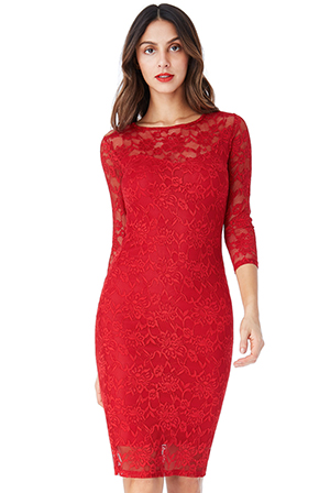 Wholesale-All-Over-Lace-Midi-Pencil-Dress-with-3-4-Sleeves