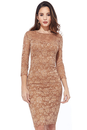 Wholesale-Lace-Midi-Dress-with-Keyhole-Back
