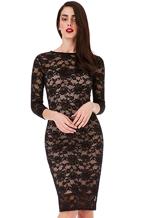 Wholesale-Three-Quarter-Sleeved-Lace-Midi-Dress