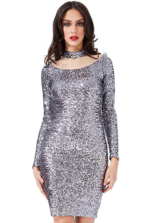 Wholesale-High-Neck-Cut-Out-Sequin-Midi-Dress