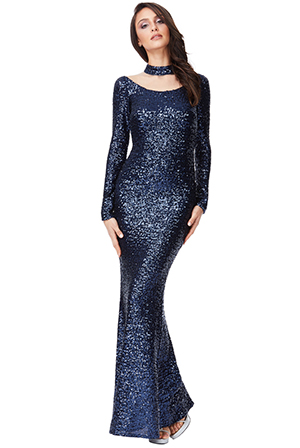Wholesale-High-Neck-Cut-Out-Sequin-Maxi-Dress