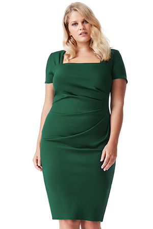 Wholesale-Plus-Size-Square-Neckline-Pleated-Midi-Dress