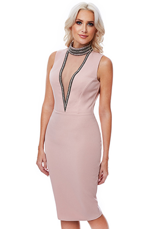 Wholesale-Stephanie-Pratt-High-Neck-Cut-Out-Embellished-Midi-Dress