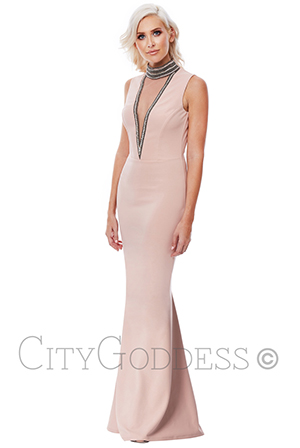 Wholesale-Stephanie-Pratt-High-Neck-Cut-Out-Embellished-Maxi-Dress