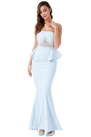 Wholesale-Strapless-Embellished-Peplum-Maxi-Dress