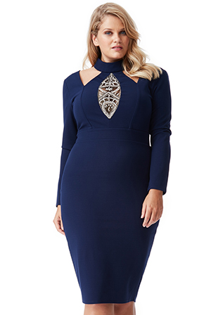 Wholesale Plus Size Embellished Cut Out Midi Dress