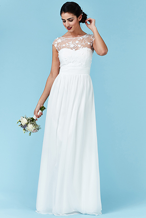 Wholesale Chiffon Maxi Wedding Dress with Flower Detail