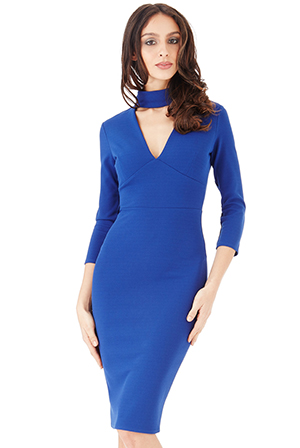 Wholesale-High-Neck-V-Cut-Out-Midi-Dress-with-Three-Quarter-Sleeves