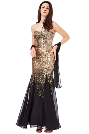 Wholesale-Bandeau-Sequin-and-Chiffon-Maxi-Dress-with-Scarf