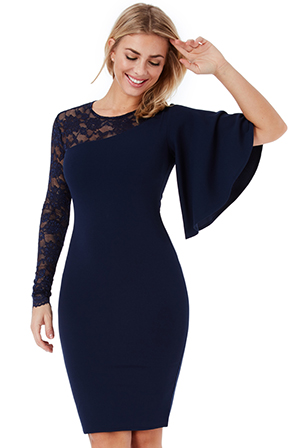 Wholesale-Asymmetric-Sleeve-Midi-Dress-with-Lace-Detail