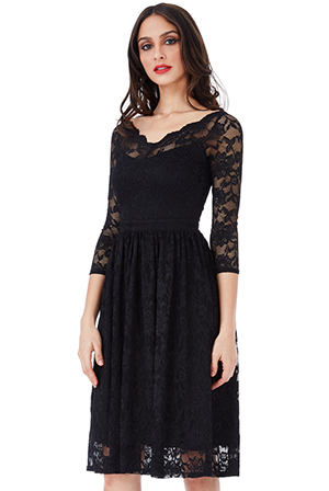 Three-Quarter-Sleeved-Lace-Midi-Dress
