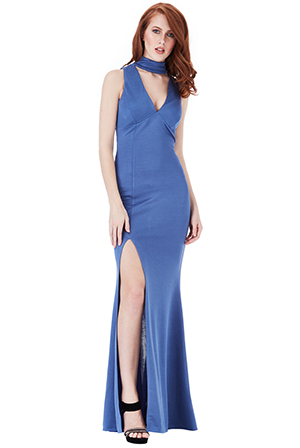 Wholesale-V-Cutout-High-Neck-Maxi-Dress-with-Split-Detail