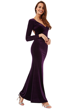 Wholesale Open Back Velvet Maxi Dress