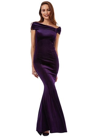 Wholesale Bardot Velvet Maxi Dress with Bow Detail