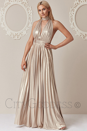 Wholesale-Deep-V-Neck-Metallic-Maxi-Dress