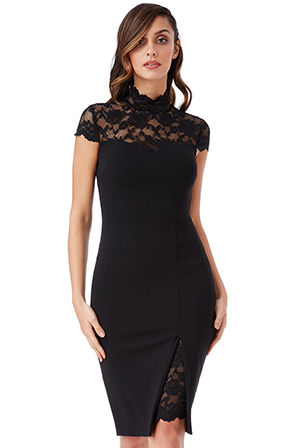 Wholesale-High-Neck-Lace-Midi-Dress-with-Split-Detail