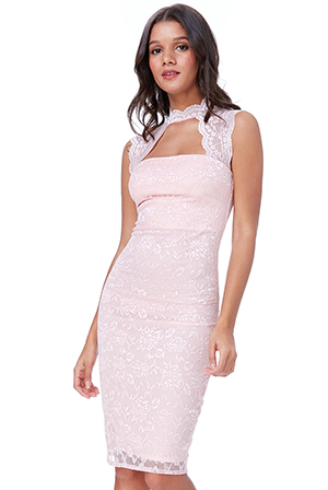 Wholesale-High-Neck-Cut-Out-Lace-Midi-Dress-DR1088D