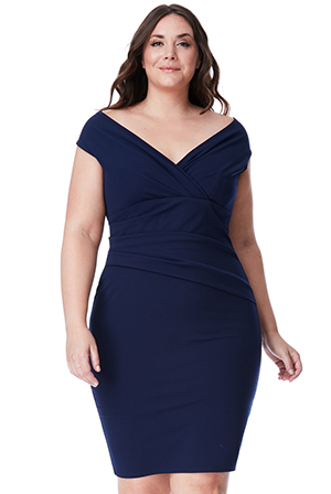 Wholesale Plus Size Bardot Pleated Midi Dress