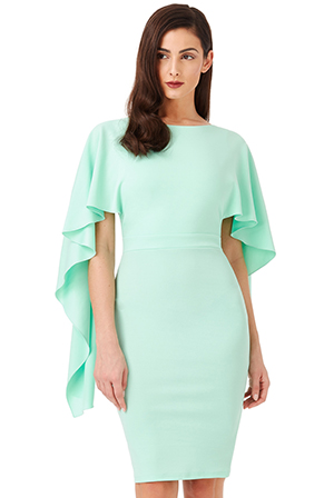 Wholesale-Open-Back-Midi-Dress-with-Waterfall-Sleeves
