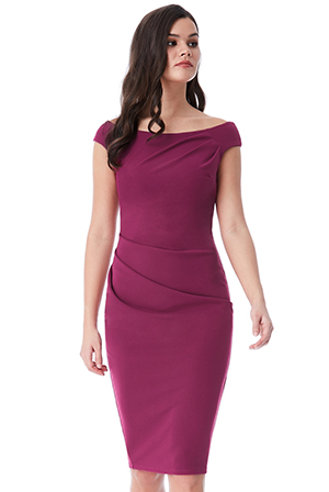 Wholesale Fitted Midi Dress with Pleating Detail