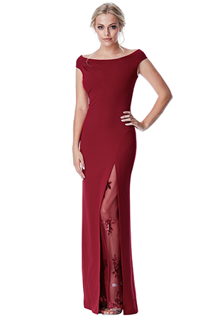 Wholesale Off The Shoulder Maxi Dress with Lace Split Detail