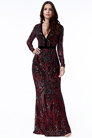 Wholesale-Deep-V-Neck-Sequin-Embroidered-Maxi-Dress-DR1163QZ