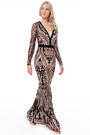 Wholesale-Deep-V-Neck-Sequin-Embroidered-Maxi-Dress-DR1163