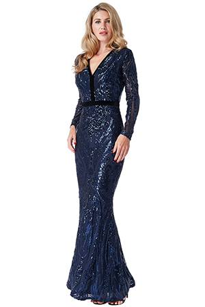 Wholesale-Stephanie-Pratt-Deep-V-Neck-Sequin-Embroidered-Maxi-Dress