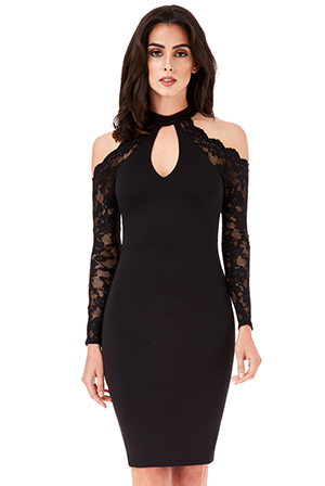 Wholesale-Halter-Neck-Cut-Out-Midi-Dress-with-Lace-Sleeves