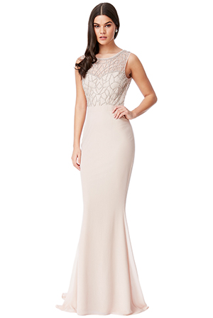 Wholesale-Embellished-Cut-Out-Back-Chiffon-Maxi-Dress