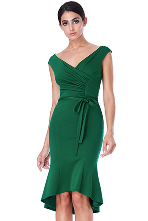 Wholesale-Pleated-Midi-Dress-with-Tie-Detail