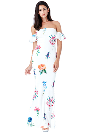 Wholesale-Bandeau-Floral-Maxi-Dress-with-Frill-Sleeves