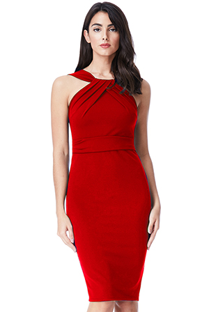 Wholesale-Pleated-Neckline-Midi-Dress-DR1195B