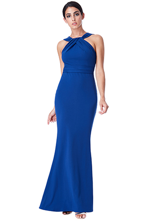Wholesale-Pleated-Neckline-Maxi-Dress